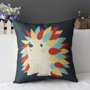 DuoLe Cotton Linen Square Decorative Cushion Cover Sofa Throw Pillowcase 46cm x 46cm , Hedgehog
