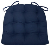Dining Chair Pad with Ties - Navy Blue Cotton Duck Solid Colour - Standard Size - Reversible, Tufted Cushion, Latex Foam Fill - Made in USA
