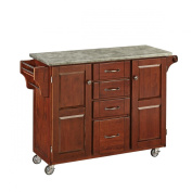 Home Styles Create-a-Cart with Concrete Top, Cherry/Grey