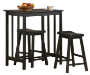 3 Piece Black Finish Table & Saddle Bar Stool Set - By Home Life 150245 B