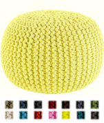 Cotton Craft - Hand Knitted Cable Style Dori Pouffe - Yellow - Floor Ottoman - 100% Cotton Braid Cord - Handmade & Hand stitched - Truly one of a kind seating - 20 Dia x 14 High