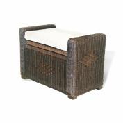 Bruno Handmade Rattan Wicker Chest Storage Trunk Organiser Ottoman W/cushion Dark Brown