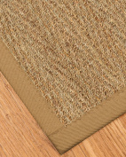NaturalAreaRugs Opulence Seagrass Rug, w/ FREE Rug Pad (2.7m by 3.7m) Sage Khaki Border