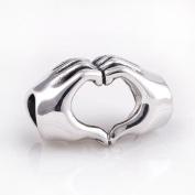 Everbling Love Heart Hand 925 Sterling Silver Bead Fits Pandora European Charm Bracelets