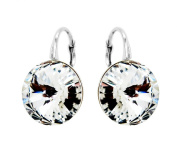 """Sterling Silver 2350cm. Crystals"""" Clear Round Lever Back Earrings for Women Bridal Jewellery"""