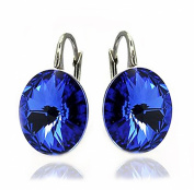 "Sterling Silver 2350cm. Crystals"" Royal Blue Lever Back Earrings for Women"