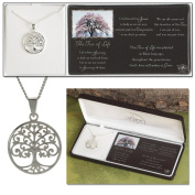 "Silver Plated Round Pendant ""The Tree of Life"" with Cross on 46cm Chain"