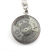 Retro Charm 50 Year Calendar Key Chain Keyring Keyfob Metal Alloy Ring Compass