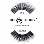 Red Cherry 100% Human Hair False Eye Lashes No 118 **Black**