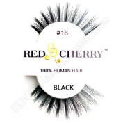Red Cherry 100% Human Hair False Eye Lashes No 16 **Black**