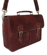 Rowallan Large Cognac Brown Leather Briefcase with laptop sleeve