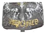 NEW UNISEX AMPLIFIED SAINTS & SINNERS WINGED SKULL DESIGN CANVAS BAG - CHARCOAL / GOLD