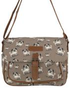 Ladies, Womens Pug Dog Print Canvas Messenger Cross Body Satchel Bag