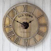 Wall Clock - Large Round Raw Nickel And Mango Wood Clock