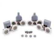 4x Double TwinTop & Bottom Shower Door ROLLERS / Runners / Pulleys / Wheels Replacement Parts 25mm diameter