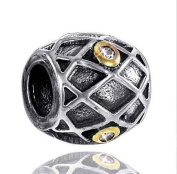MATERIA 925 Sterling Silver Bead Element with Cubic Zirconia Antique Gold Beads #719