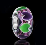 925 Sterling Silver Purple Heart Murano Glas Bead Element/7 x 13 mm Green - 1489# Beads for Model