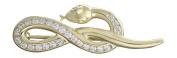 Hobra GOLD Snake Brooch 14 K GOLD 585 GOLD with Zirconia-Goldbrosche