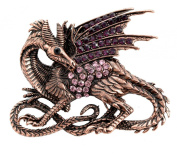 Dragon Large Brooch Antique Copper Finish with Crystals (Organza Gift Pouch Included).