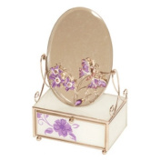 Lilac Butterfly Jewellery & Trinket Box With Mirror By Mele & Co