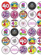 30 Assorted 40th Birthday Premium Rice Paper Cake Toppers