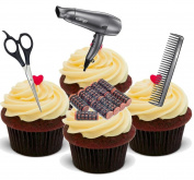 NOVELTY HAIRDRESSING HAIRDRESSER MIX GREY - Standups 12 Edible Standup Premium Wafer Cake Toppers