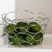 """DESIGN FRUIT BASKET """"CHICAGO RINGS"""" bowl chromed wire silver from Xtradefactory"""