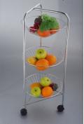 Veg Fruit Kitchen Trolley Rack Ideal Storage 3-Tier Chrome Basket Size 30cm NEW