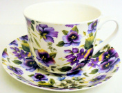 Pansy Breakfast Cup & Saucer Fine Bone China Large Pansies Cup & Saucer Hand Decorated in the U.K. Free UK Delivery