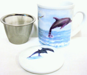 Dolphins Mug Infuser and Lid Set Fine Porcelain Dolphins Infusion Mug Hand Decorate in the UK Free UK Delivery