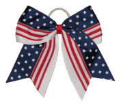 """New """"STAR SPANGLED BANNER"""" Cheer Hair Bow Pony Tail 7.6cm Ribbon Cheerleading Practise Football Games Uniform Hairbow 4th of July Patriotic"""