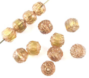 Faceted Czech Crown Cathedral Beads-HONEY AMBER 8mm