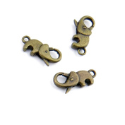 50 Pieces Jewellery Making Findings Antique Bronze Charms FL1135 Elephant Lobster Clasps Craft Lots Repair Supplies