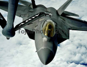 F-22 Raptor pulls into position to accept fuel from a KC-135