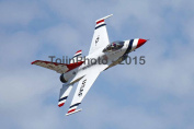 Thunderbird 6 performing a high speed turn top right aerial view