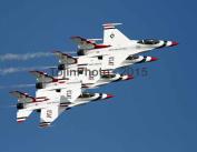 Thunberbirds performing a 4 ship Echelon Pass Manoeuvre