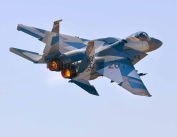 F-15C Eagle in Russian paint scheme with afterburners on
