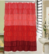 Ruffled Shower Curtain BEVERLY RED