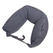 Neck Pillow Black And Grey Stripe Cotton U Shaped Travel Pillow