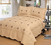 Mk Collection Gold 3pc Bedspread Coverlet Embroidery Quilt Set