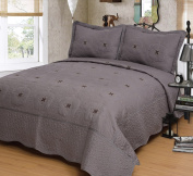 Mk Collection Grey 3pc Bedspread Coverlet Embroidery Quilt Set