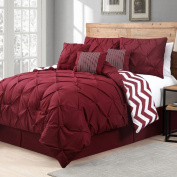 Geneva Home Fashion 7 Piece Venice Pinch Pleat, King, Red