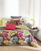 bar III LYLA 200T Twin/Twin XL Comforter, Grey/Red/Green/Gold