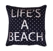 Thro by Marlo Lorenz Life's A Beach Foil Pillow, 46cm x 46cm , Silver