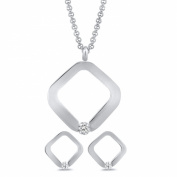 Pascollato Stainless Steel Square Pendant Earrings Set with Necklace Cubic Zirconia Accents Tension Set