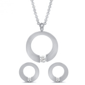 Pascollato Stainless Steel Pendant Earrings Set with Necklace Cubic Zirconia Accents Tension Set
