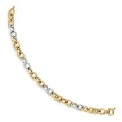 Italian 7mm Fancy Cable Link 14K Two Tone Gold Bracelet, 8 inch