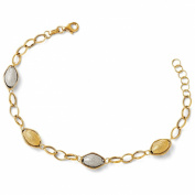 Italian Adj. Textured Beaded Bracelet in 14K Two Tone Gold, 7-20cm