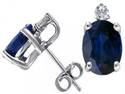 Tommaso Design Genuine Sapphire and Diamond Earrings Studs
