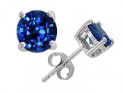 Tommaso Design 6mm Genuine Round Created Sapphire Earrings Studs